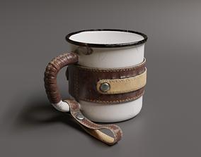 Leather Wrapped Enamel Mug 3D asset