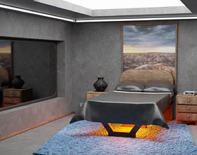 MODERN BEDROOM low 3D model game-ready