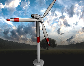 Modern Wind Turbine -- Game-Ready and Animated 3D model