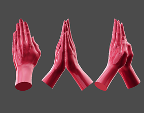 Detailed Female Hand Hands Together Pose 3D Printable