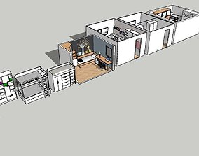 3D model VR / AR ready kids room bunk bed set