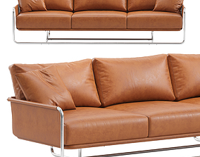 3-seat leather sofa 3D model