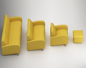 Sofa Set 3D model table fabric