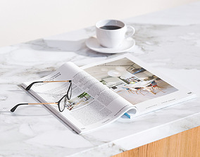 3D model A magazine next to cup of coffee