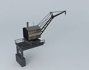 Steam-Powered Riverboat Harbor Crane 3D asset