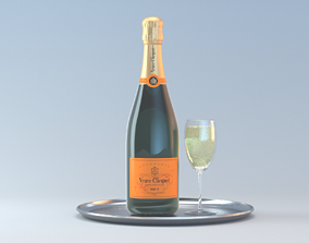 Photorealistic Champagner Bottle with Glass and Tablet 3D