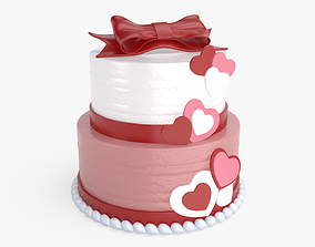 strawberry Valentine cake 3D model