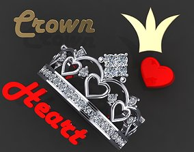 Ring crown with 7 hearts 3D print model