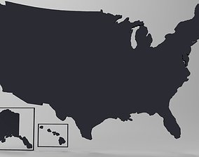 3d USA Map Model Free low-poly