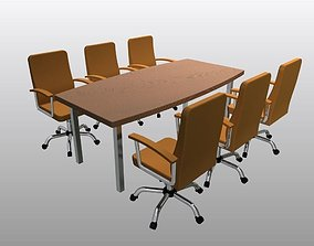 meeting 3D printable model Office Table and Chairs