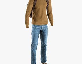 3D asset Mens Pants with Pullover Shoes Backpack 5
