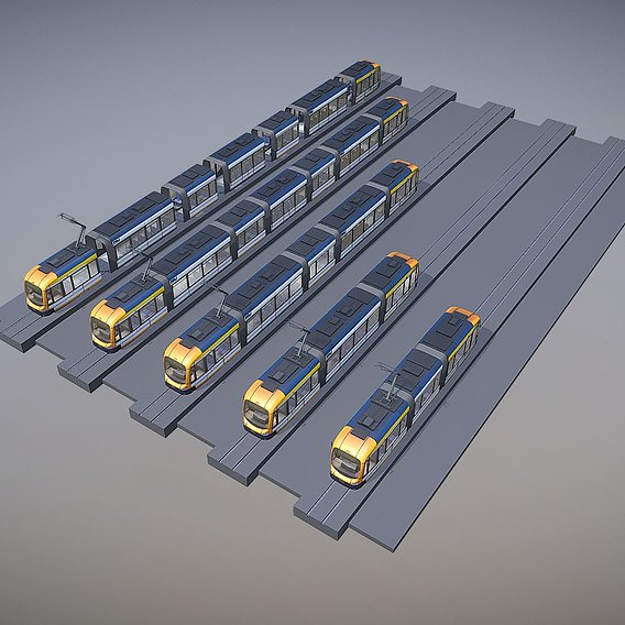 Tram with interior and some animations for the doors and pantograph (Blender-3D)