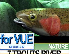 3D 7 Rainbow Trout Realistic River Scene