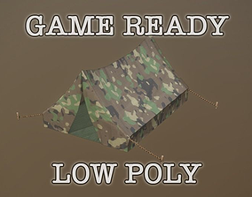 3D model Camouflage Tent low-poly game ready