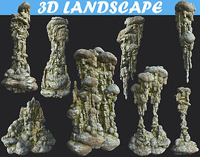 3D model Low poly Mossy Cave Column Modular