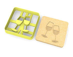 Wine glasses cookie cutter 3D print model