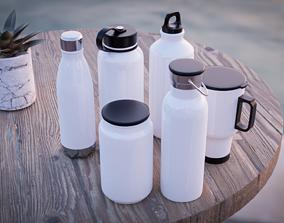 The Set Metallic Bottle 3D asset