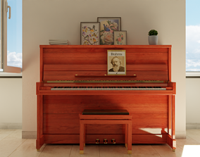 C Bechstein Residence 124 upright piano 3D