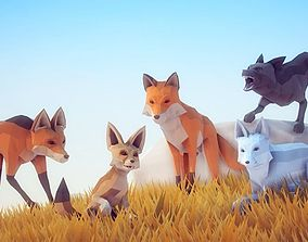 Poly Art Foxes 3D asset
