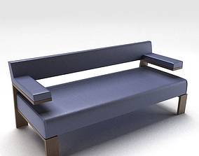 Purple Bench Style Couch 3D