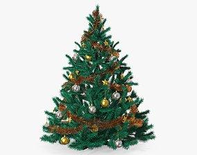 3D Fir tree artificial decorated 01