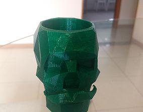 3D print model Low Poly Skull Pen Holder With Moustache