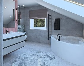 3D Great bathroom with sloping ceilings