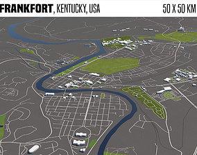 3D Frankfort Kentucky USA 50x50km