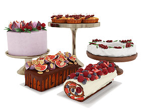 3D Fruit berry cake collection 3