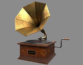 Old Gramophone Music Box 3D asset