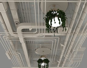 3D Pipes industrial ceiling with plants chandelier