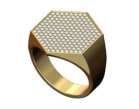 3D printable model Iced large hexagonal ring Us size 9