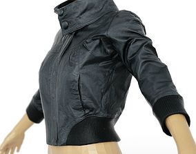 3D model Jacket Black Shiny Collar Closed Clothing Women