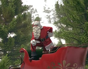 3D asset Santa Claus with Sleigh 10600 - Christmas Special