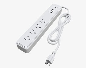 Power strip with USB ports US white 3D