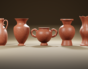 3D model Clay jugs - five items ready for subdivide Part 1