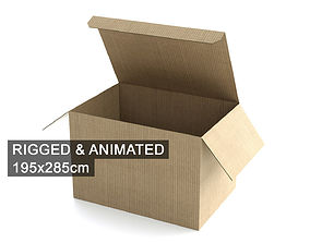 3D Cardboard Box 195x285cm - Rigged and Animated