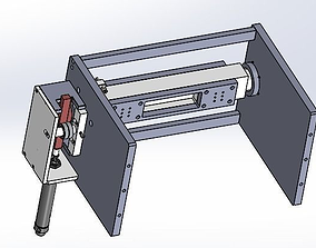 3D model Cylinder driving rack and pinion rotating 1