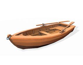 3D model VR / AR ready Stylized wooden fishing boat