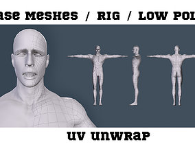 3D asset Base Meshes man game ready