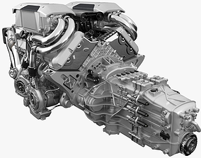 3D model Bugatti Chiron - Divo Engine