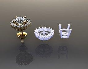 3D printable model Solitaire Diamond Earring Jacket 4mm50
