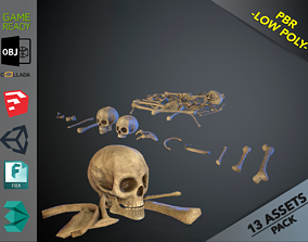3D asset VR / AR ready Skulls1