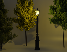 3D model Street Lamp Low poly 4K PBR Textures Game Ready
