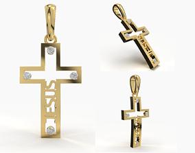 3D printable model platinum JESUS CROSS DIAMOND PENDANT