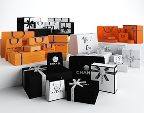 3D model Luxury Gift Packaging Boxes and Paper Bags
