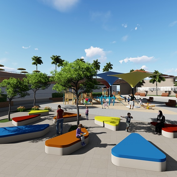 outdoor kids area in an urban design project