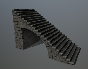 3D asset game-ready ice stairs