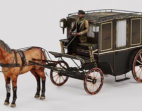 Carret with horse with horseman rigged rder 3D model 1