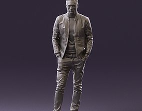 Man in gray clothes inside white jacket 0871 3D Print 1
